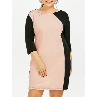 Buy PINK 3XL Plus Size Color Block Sheath Dress With Sleeves for $20.15 in GearBest store