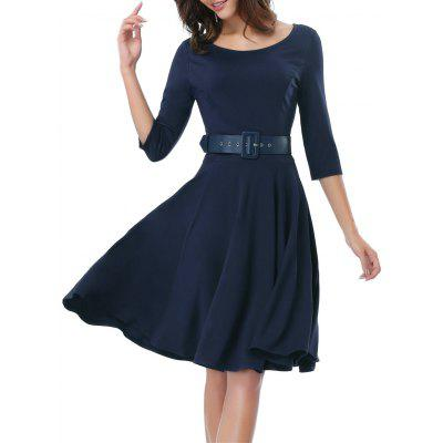 Buy DEEP BLUE 2XL Office Belted Skater Going Out Swing Dress for $36.15 in GearBest store
