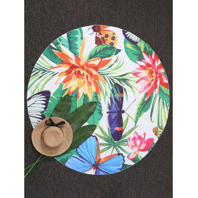 Butterfly and Floral Round Shape Beach Throw