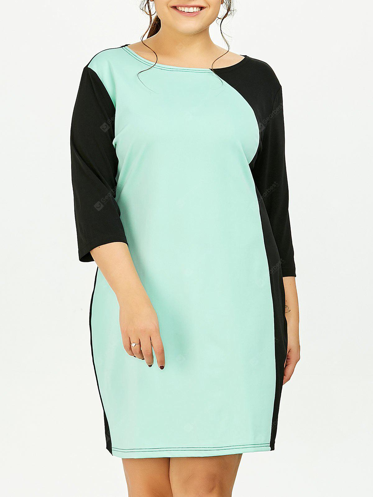 LIGHT GREEN 6XL Plus Size Color Block Sheath Dress With Sleeves