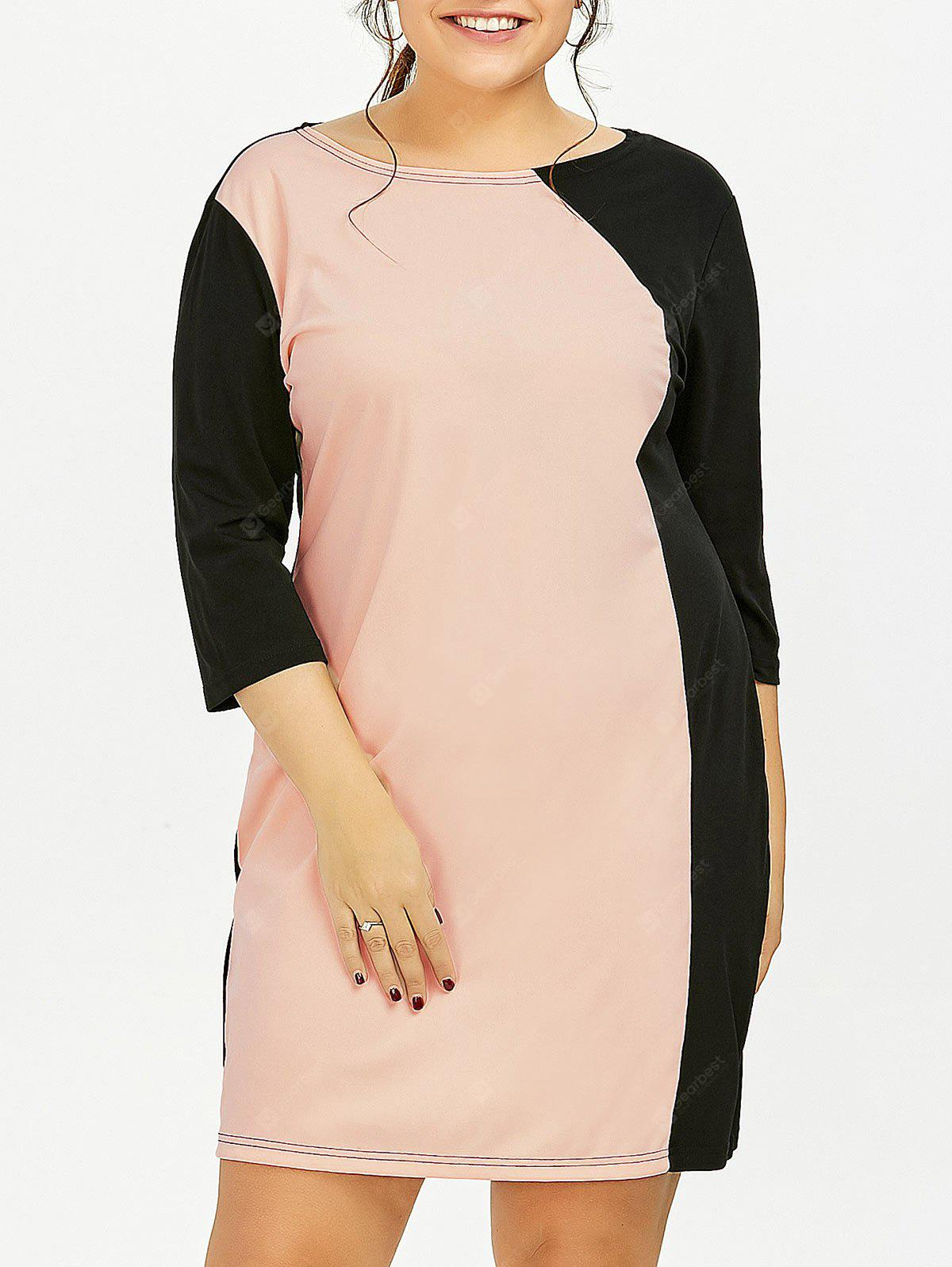 PINK 3XL Plus Size Color Block Sheath Dress With Sleeves