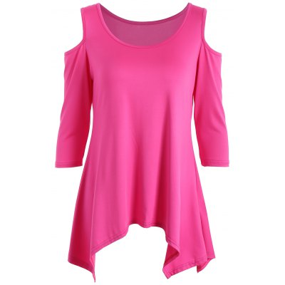 Buy TUTTI FRUTTI L Tunic Handkerchief Top with Cold Shoulder for $13.66 in GearBest store