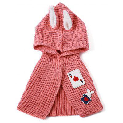 Likable Applique Patched Rabbit Ear Knitted Hooded Scarf