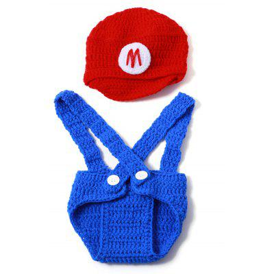Set of Fashion Super Mario Knitting Props Clothes Hat Overalls For Baby's Photography