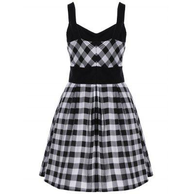 Single Breasted Check Plaid Dress
