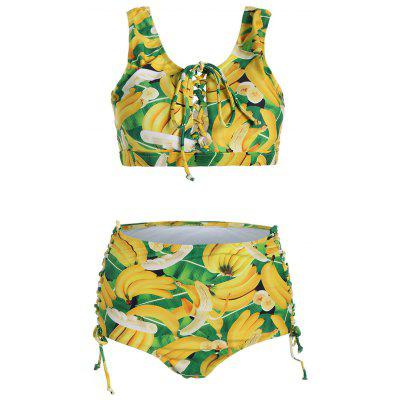 Buy COLORMIX 2XL Lace Up Plus Size Cute High Waisted Bikini for $22.26 in GearBest store