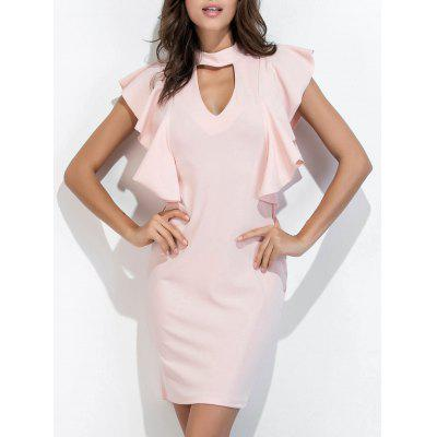 Buy PINK L Choker Neck Ruffle Bodycon Dress Short Club Dresses for $22.46 in GearBest store