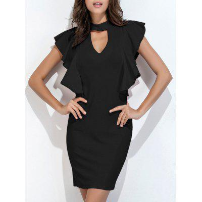 Buy BLACK M Choker Neck Ruffle Bodycon Dress Short Club Dresses for $22.46 in GearBest store