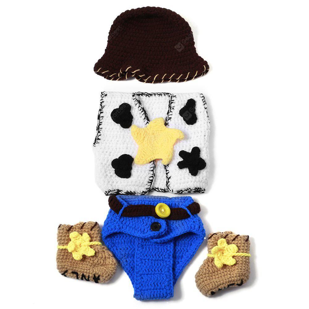 Set of Fashion Cowboy Style Tricô Props Vestuário Hat Jacket Boot For Baby's Photography