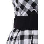 Single Breasted Check Plaid Dress - WHITE AND BLACK