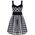 cheap Single Breasted Check Plaid Dress