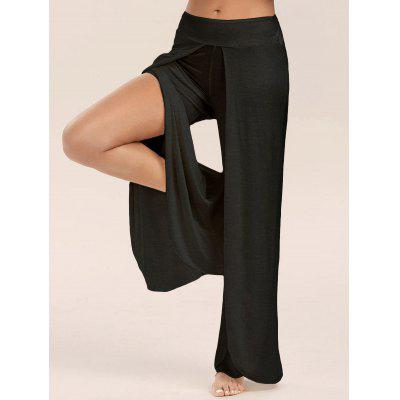 Buy BLACK L High Slit Palazzo Pants for $17.13 in GearBest store