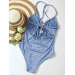 Buy Lace Plunge Neck Monokini L LIGHT BLUE