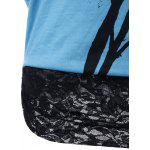 Lace Trim Skew Collar Tree Print T-Shirt - BLUE AND BLACK