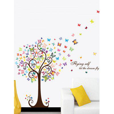 Artistical Butterfly Tree Let Dream Fly Wall Sticker