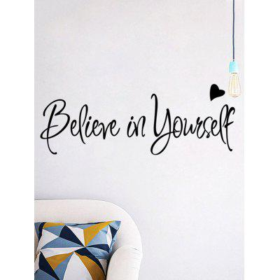 Buy BLACK Believe in Yourself Inspirational Proverb Wall Sticker for $4.16 in GearBest store