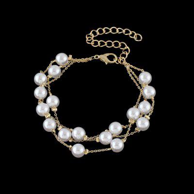 Faux Pearl Layered Chain Bracelet