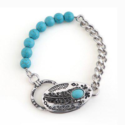 Artificial Turquoise Engraved Feather Beads Bracelet