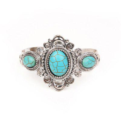 Artificial Turquoise Oval Cuff Bracelet