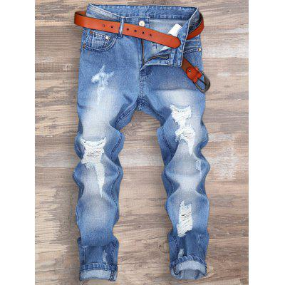 Distressed Zipper Fly Nine Minutes of Jeans