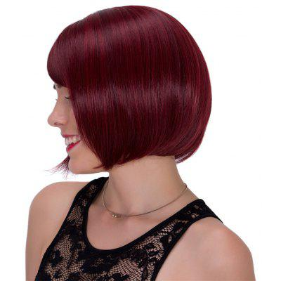 Buy WINE RED Vogue Straight Side Bang Synthetic Wine Red Short Adiors Wig For Women for $15.22 in GearBest store