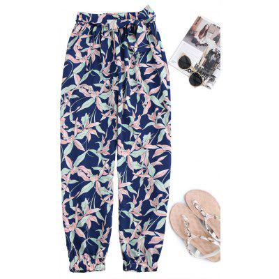 Floral Tapered Pants With Tie Belt