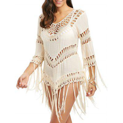 Crochet Openwork V Neck Tunic Cover Up with Tassels