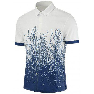 Tree Branch Printed Short Sleeves Shirt