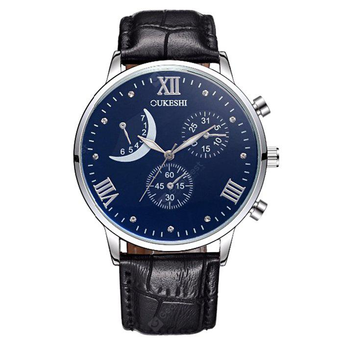 OUKESHI Faux Leather Roman Numerals Moon Watch