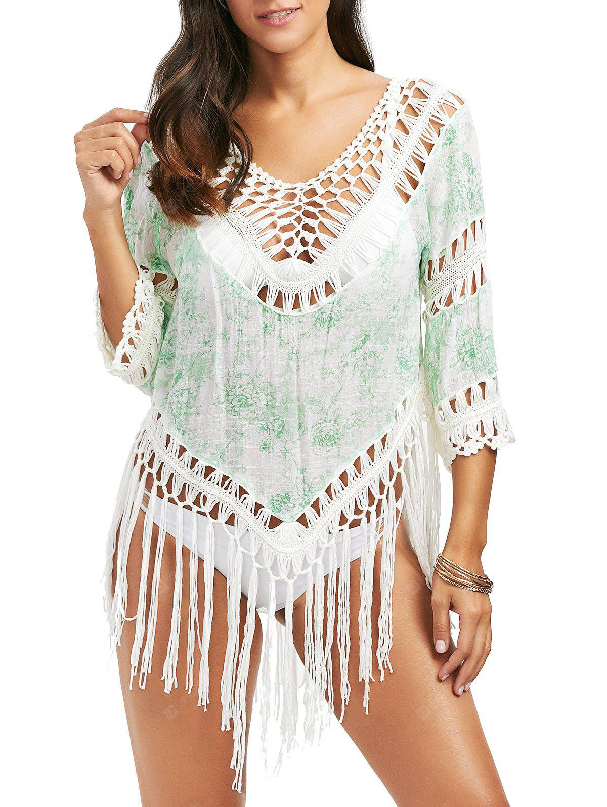 Crochet Panel Printed Tassel Cover Up