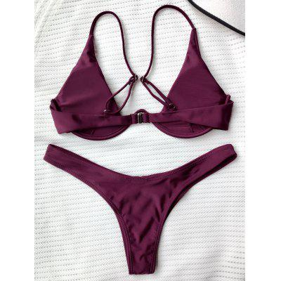 Underwired Plunge Bathing SuitWomens Swimwear<br>Underwired Plunge Bathing Suit<br><br>Bra Style: Padded<br>Elasticity: Elastic<br>Gender: For Women<br>Material: Nylon, Polyester, Spandex<br>Neckline: Spaghetti Straps<br>Package Contents: 1 x Top  1 x Bottoms<br>Pattern Type: Solid<br>Support Type: Underwire<br>Swimwear Type: Bikini<br>Waist: Low Waisted<br>Weight: 0.2000kg