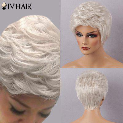 Siv Hair Short Layered Fluffy Inclined Bang Human Hair Wig