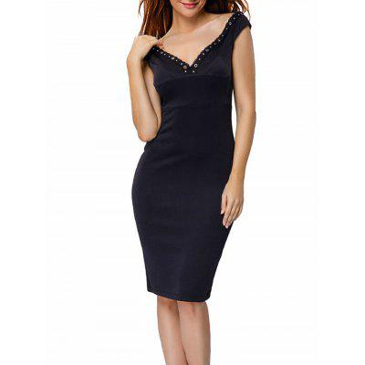 Zippered Bodycon Off The Shoulder Dress