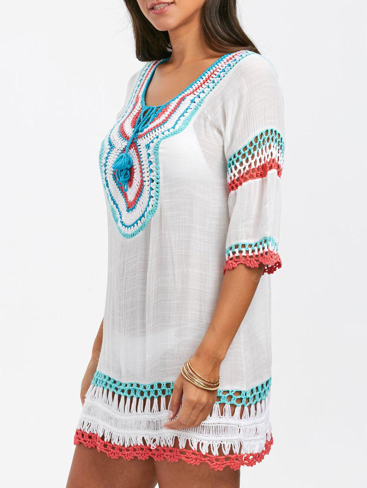 Crochet Panel Cover Up with Pompom
