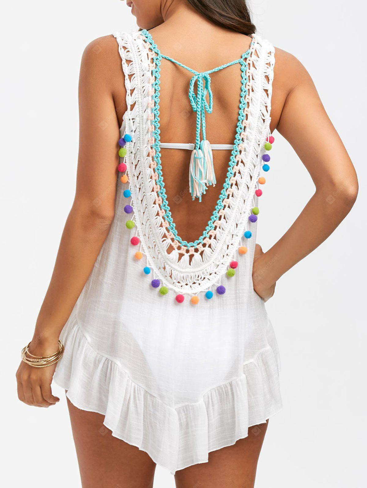Sleeveless Crochet Cover Up with Pompom