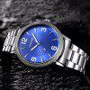 OUKESHI Steel Strap Number Quartz Watch - BLUE