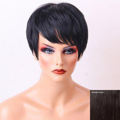 Natural Straight Side Bang Layered Pixie Short Human Hair Wig