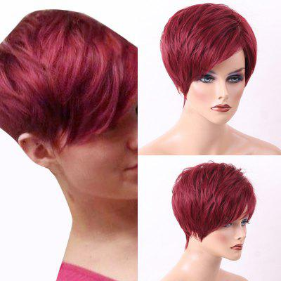 Pixie Cut Short Layered Side Bang Straight Human Hair Wig