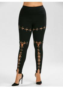 Lace Up Plus Size Ankle Length Pants