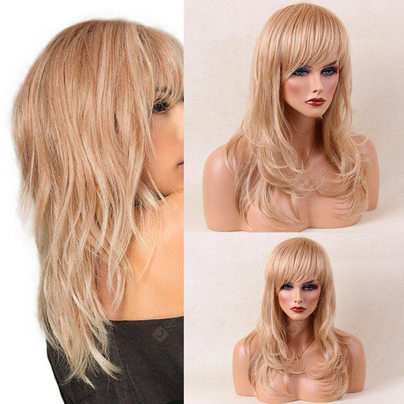 Long Side Bang Layered Slightly Curled Tail Adduction Human Hair Wig