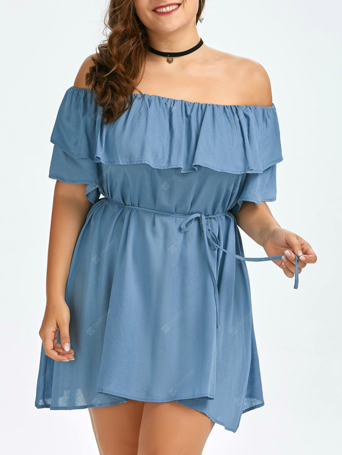 AZURE Plus Size Flounce Off The Shoulder Swing Dress