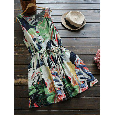 Buy COLORMIX Abstract Print Drawstring Waist Dress for $23.66 in GearBest store
