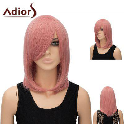 Buy PINK SMOKE Adiors Medium Side Bang Silky Straight Tail Adduction Cosplay Anime Wig for $15.91 in GearBest store