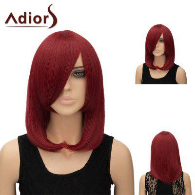 Buy WINE RED Adiors Medium Side Bang Silky Straight Tail Adduction Cosplay Anime Wig for $15.91 in GearBest store