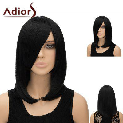 Buy BLACK Adiors Medium Side Bang Silky Straight Tail Adduction Cosplay Anime Wig for $15.91 in GearBest store
