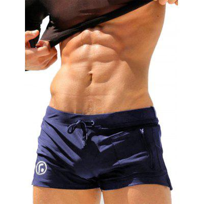 Lace Up Zip Stretchy Up bolso Swimming Trunks