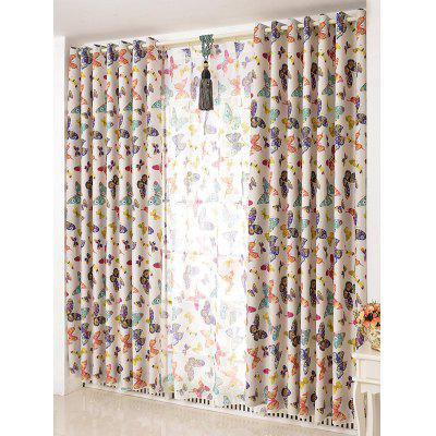 Butterfly Print Blackout Curtain Window Screens(Without Tulle)