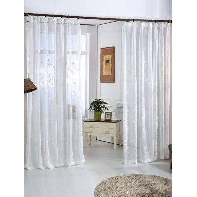 Floral Embroidery Sheer Tulle Window Curtain