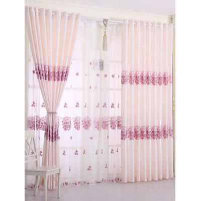 1PCS Hydrangea Print Window Blackout Curtain (Without Tulle)