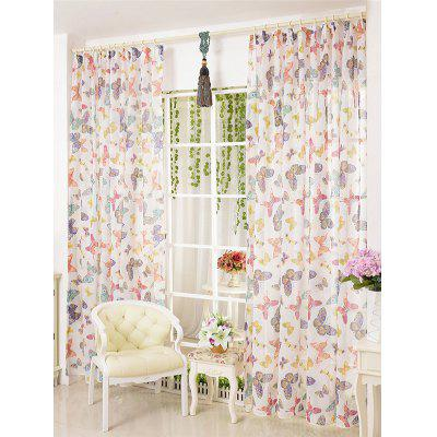 Pastoral Butterfly Print Sheer Tulle Curtain